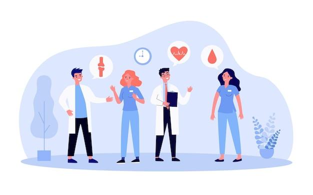 Medizinisches personal diskutiert krankheit