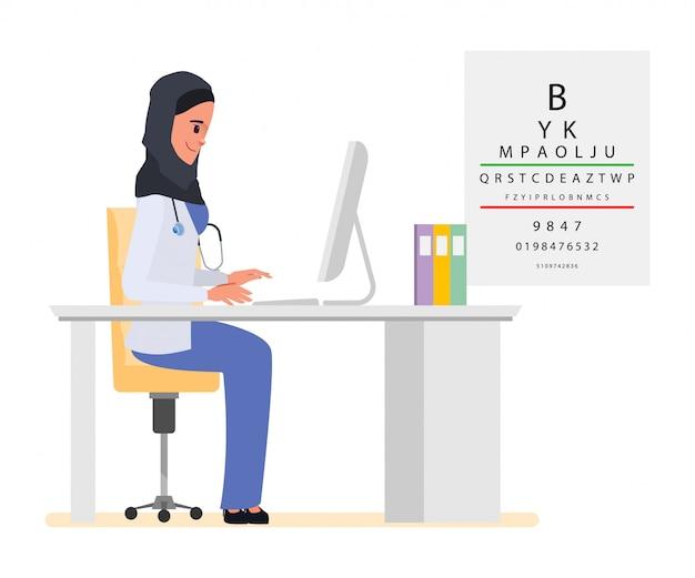 Medizinisches personal eines muslimischen oder arabischen arztcharakters.