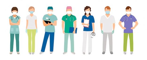 Medizinisches personal in schutzmasken
