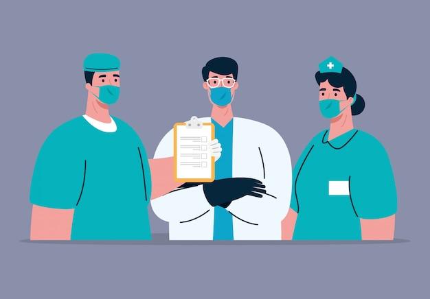 Medizinisches personal mit gesichtsmaske während der pandemie 19