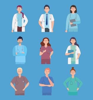 Medizinisches personal mit stethoskop