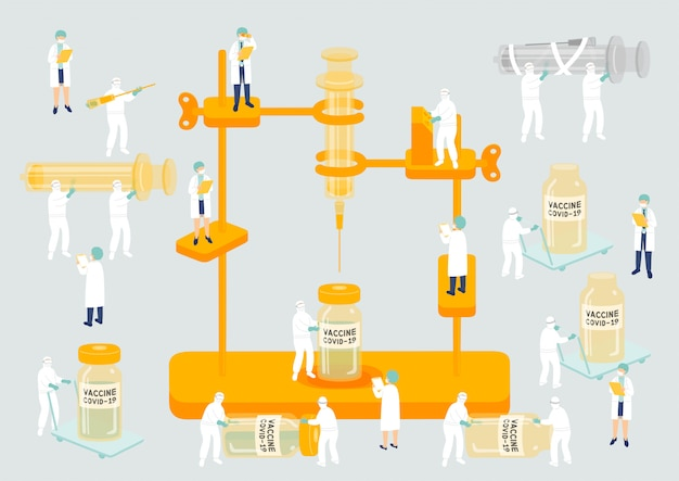 Medizinisches personal teamwork management herstellung miniatur montage labor team mitarbeiter menschen erzeugen covid-19 impfstoff, wissenschaftslabor metapher poster oder soziale banner illustration isoliert