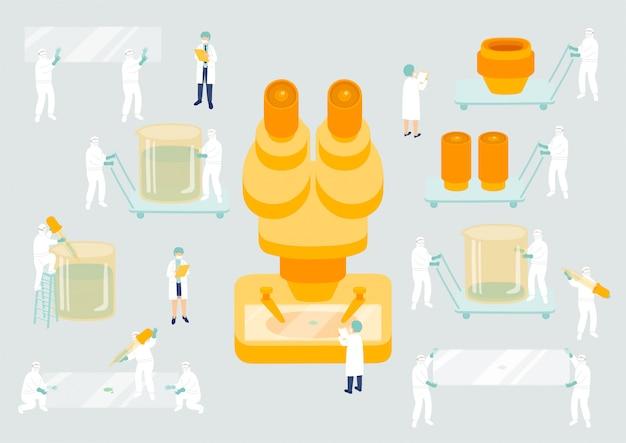 Medizinisches personal teamwork management, miniatur montage lab team team winzige leute forschung covid-19 virus wissenschaft labor metapher poster oder soziale banner illustration isolierten hintergrund