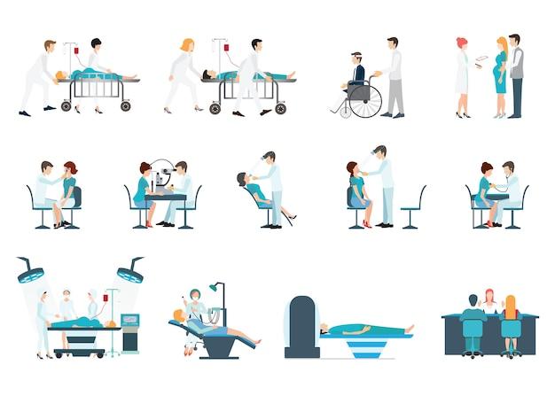 Medizinisches personal und patienten verschiedene situationen