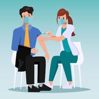 Medizinisches personal wurde für patienten gegen covid19 geimpft