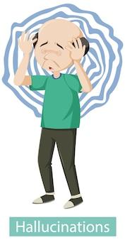 Medizinisches plakat, das halluzinationssymptome zeigt