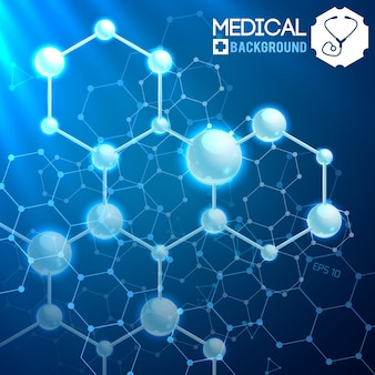 Medizinisches plakat mit originaler chemischer atomarer und molekularer struktur und formeln auf dem blauen kosmos