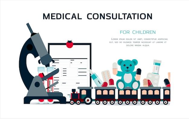 Medizinisches poster mit medikamenten werbung für online-apotheken oder medizinische fernkonsultationen