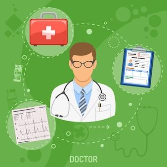Medizinisches quadratisches banner arzt mit flachen symbolen kardiogramm, patientenakte und erste-hilfe-set. vektor-illustration