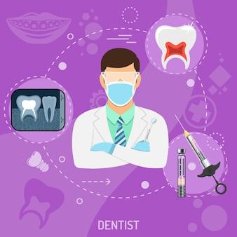 Medizinisches quadratisches banner arzt zahnarzt mit flachen symbolen spritze, stomatologie-röntgen, zahn- und zahnspangen. vektor-illustration