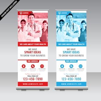 Medizinisches rollen oben fahnendesign für krankenhaus