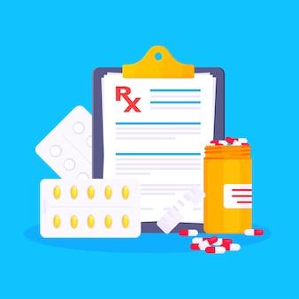 Medizinisches rx-formular verschreibungspflichtiges flaches design-vektorillustrations-zwischenablage mit rx-formular