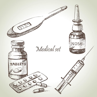 Medizinisches set. handgezeichnete illustrationen