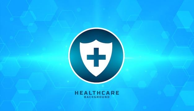 Medizinisches sicherheitsabzeichen mit blauem sechseckigem hintergrund