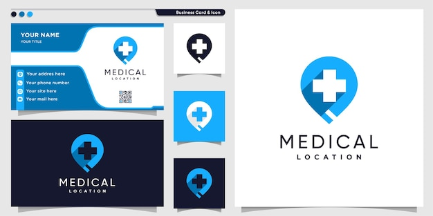 Medizinisches standortlogo mit modernem stil und visitenkartenentwurfsschablone