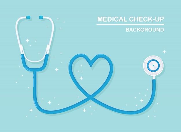 Medizinisches stethoskop lokalisiert auf hintergrund. gesundheitswesen, erforschung des herzkonzepts. flaches design