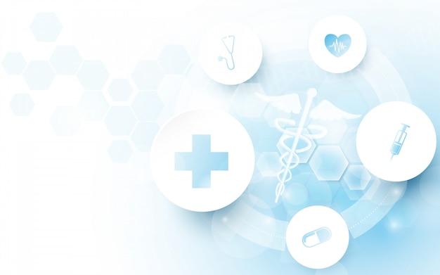 Medizinisches symbol des caduceus und zusammenfassung geometrisch mit medizin- und wissenschaftskonzepthintergrund