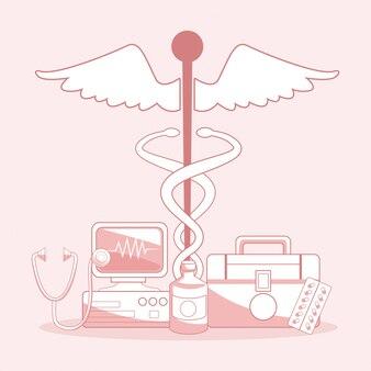 Medizinisches symbol des caduceus