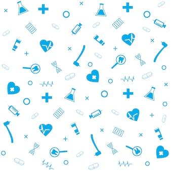 Medizinisches symbol-zahnmedizinische ausrüstungs-apotheken-zeichen-nahtloses muster