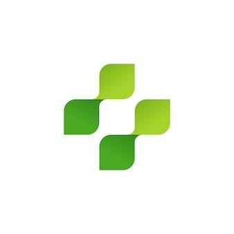 Medizinisches symbolkreuz des apothekenvektorlogos der grünen blätter