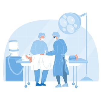 Medizinisches team, das chirurgische operation vektor durchführt. chirurg arzt und assistent führen die operation durch. charaktere medizin krankenhauspersonal und patient im operationssaal flache cartoon illustration