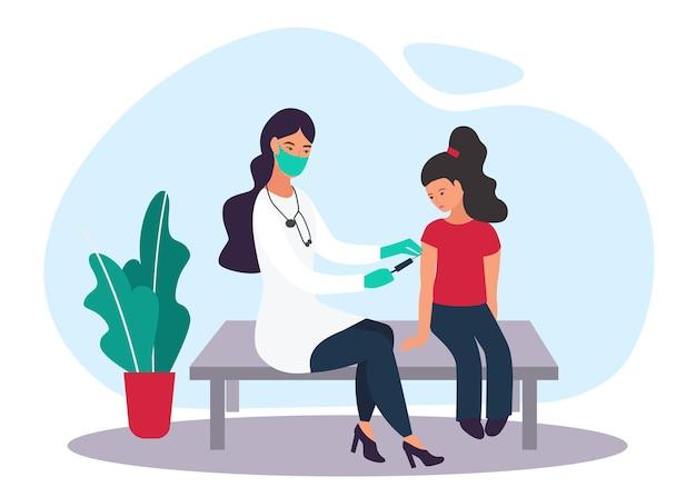 Medizinisches thema. hausarzt kinderarzt und patienten. das kind ist geimpft. karikatur