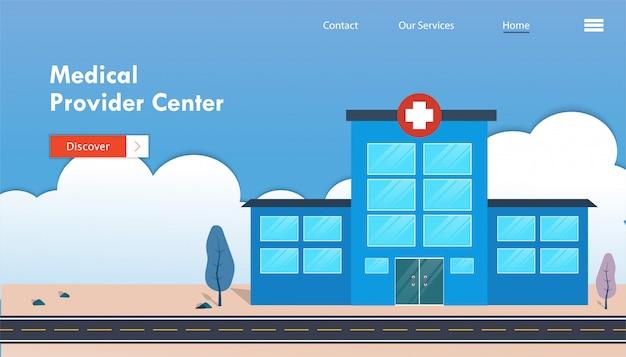 Medizinisches versorgerzentrum mit vektorillustration des krankenhausgebäudes.