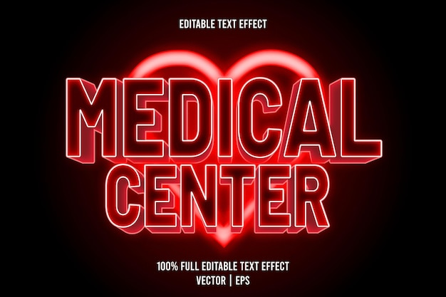 Medizinisches zentrum editierbarer texteffekt 3-dimensionaler präge-neon-stil