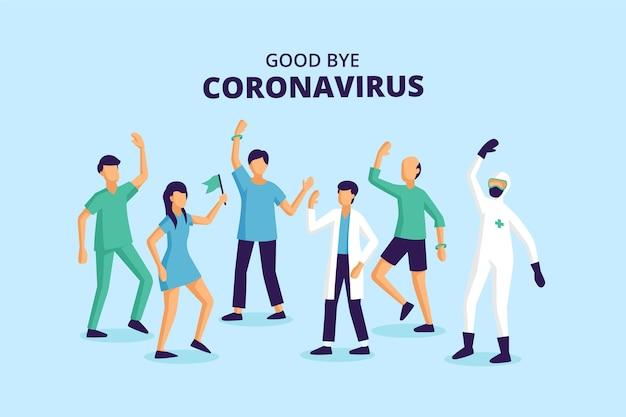 Medizinisches zeug, das über das ende des pandemievirus jubelt