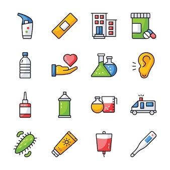 Medizinisches zubehör icons pack