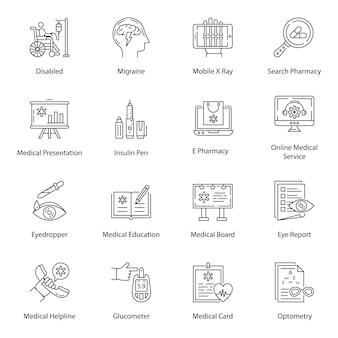 Medizinisches zubehör linie icons pack