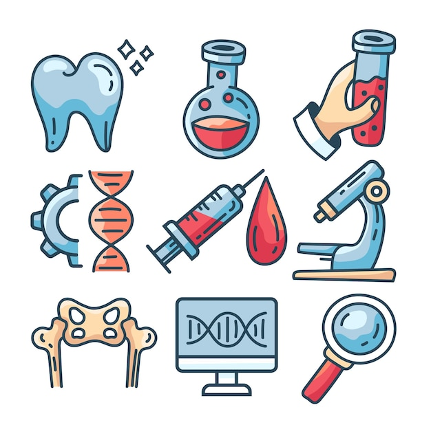 Medizinlinie symbol isoliert set vektor flache cartoon-grafik-illustration