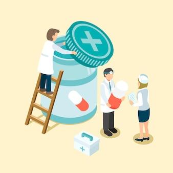 Medizinmanagement im isometrischen 3d-flachdesign