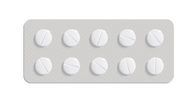 Medizinpillen auf weißem hintergrund. pillenverpackung. das heilmittel für das virus. pille mit vitaminen oder biozusätzen. 3d