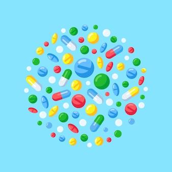 Medizinpillen in der runden zusammensetzung. eben
