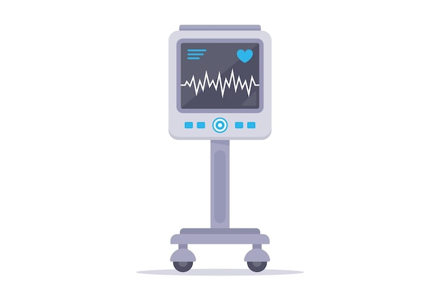 Medizinprodukt zur überwachung des herzens des patienten. flache illustration lokalisiert auf weißem hintergrund.