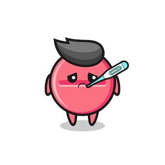 Medizintabletten-maskottchen-charakter mit fieberzustand, süßes design
