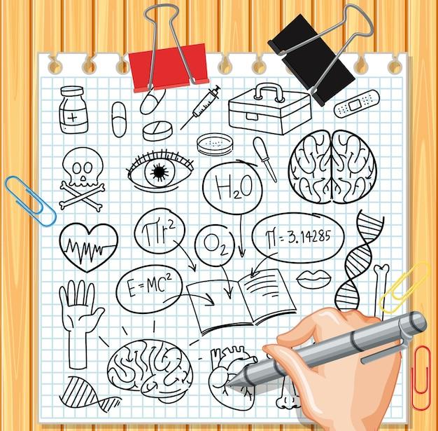 Medizinwissenschaftliches element im gekritzel- oder skizzenstil auf papier