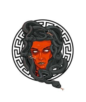 Medusa gesicht mit giftschlangen