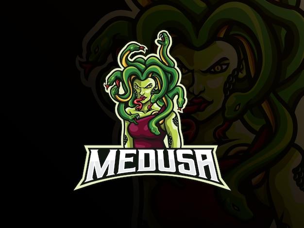 Medusa maskottchen sport logo design