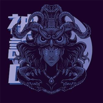 Medusa mit eulenkopfmaskottchen