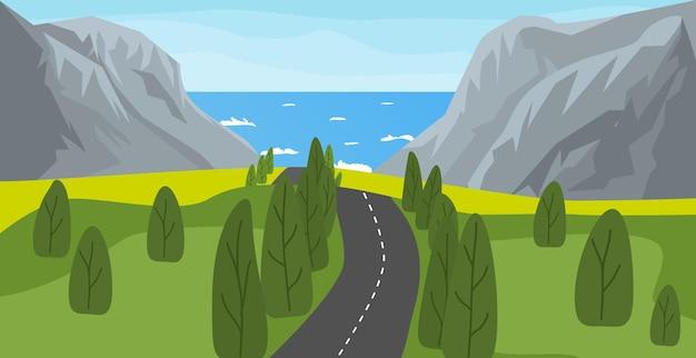 Meer-, berg- und straßenlandschaftsvektorillustration. natur hintergrund. autobahn zum meer.