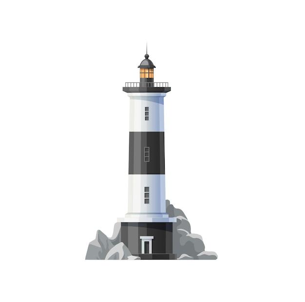 Meer leuchtturm von ozeanstrand-vektor-symbol. beacon tower building mit nautischer navigationsscheinwerferlampe, weißen schwarzen streifen und meeresküstenfelsen isoliertes symboldesign