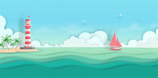 Meer scape ansicht mit wolke, insel, kokosnussbaum, boot und leuchtturm im summerwith papierschnitt
