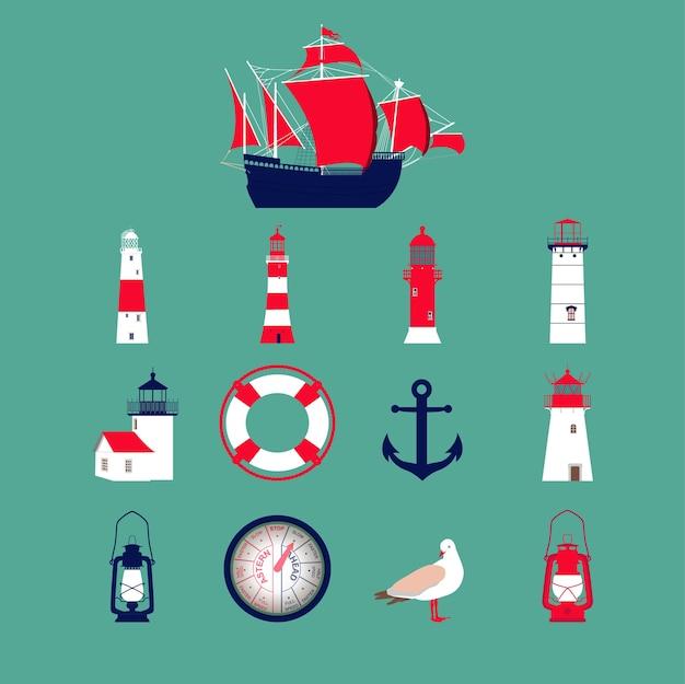 Meer stellte mit boot, leuchttürmen, anker, seemöwe, laterne ein.