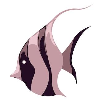 Meeres- oder meeresleben unter wasser, isolierte fische mit schwimmenden flecken. schwimmende wasserlebewesen, tropische oder exotische arten. tauchen und aquarium. meeres- und seetiere, vektor im flachen stil flat
