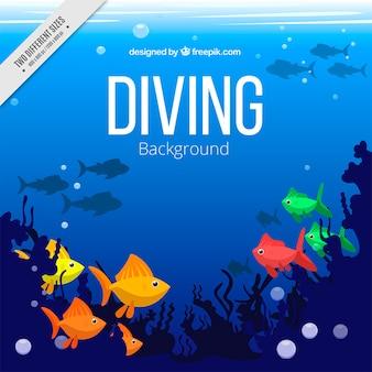 Meeresboden mit exotischen fischen hintergrund