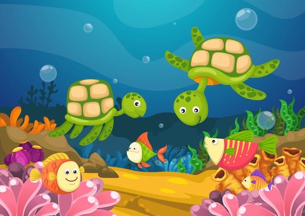 Meeresflora und -fauna unter dem seevektor