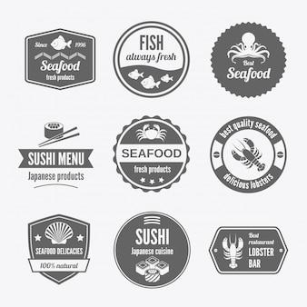 Meeresfrüchte-abzeichen schwarz gesetzt