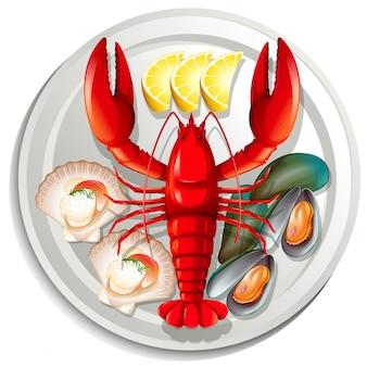 Meeresfrüchte auf teller gesetzt